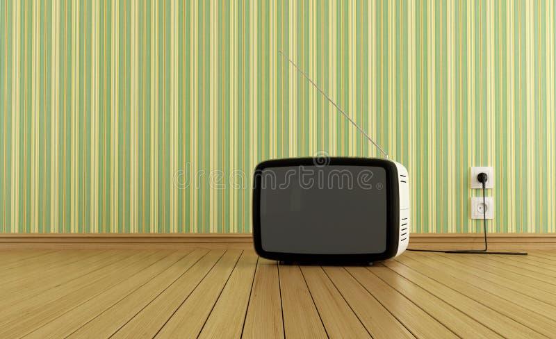 Retro tv. On parquet in a empty room