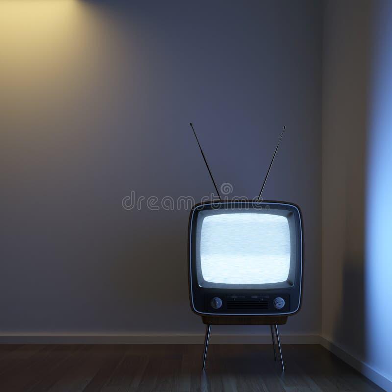 Retro TV Alone In The Corner Stock Photos