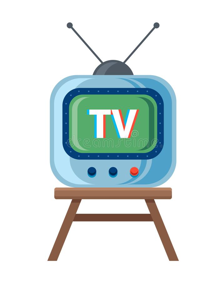 Retro TV with antenna is standing on the chair. vector illustration