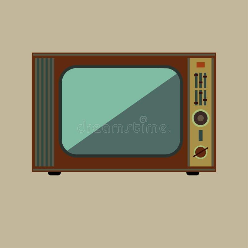 Retro TV. On beige background stock illustration