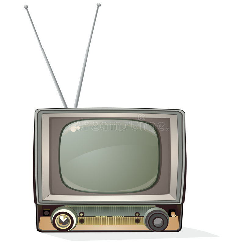 Retro TV with clipping path stock illustration