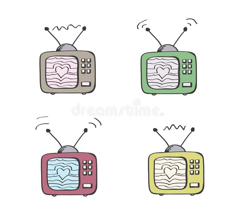 Retro TV in colur with heart on the screen made from sending waves. Love TV. Old vintage television as a symbol of love to films and series. Film industry royalty free illustration
