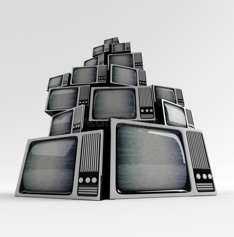 Retro TV con elettricità statica. illustrazione di stock
