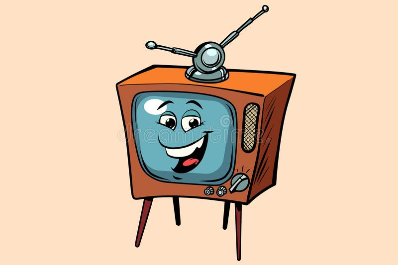 Retro TV cute smiley face character vector illustration