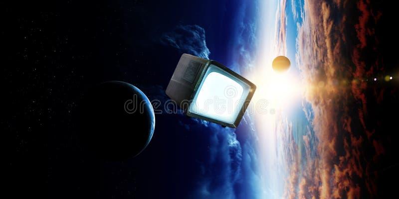 Retro TV die in ruimte vliegen royalty-vrije stock afbeelding