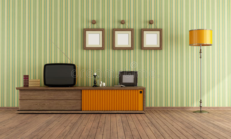 Retro TV in een woonkamer vector illustratie
