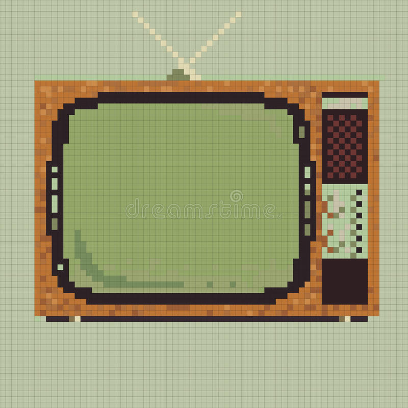 Retro tv för PIXEL royaltyfri illustrationer