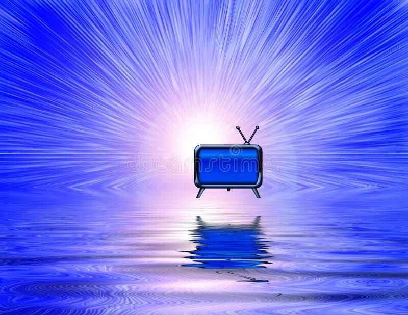 Retro TV. TV floats above liquid surface. 3D rendering royalty free illustration