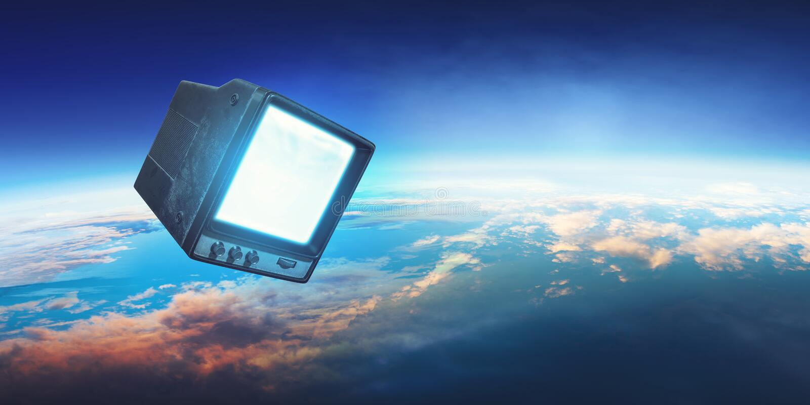 Retro TV flying in space royalty free stock photo