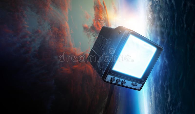 Retro TV flying in space royalty free stock images