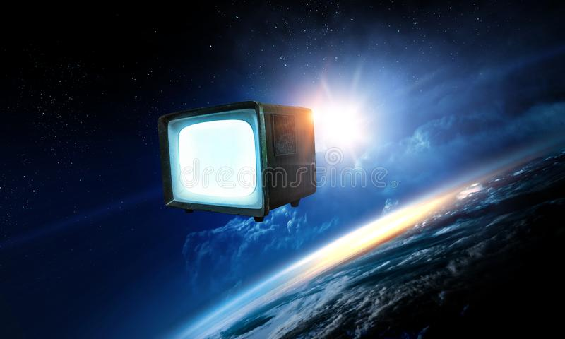 Retro TV flying in space stock image