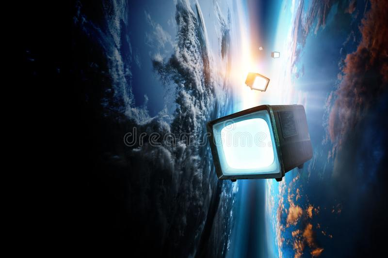 Retro TV flying in space stock photo