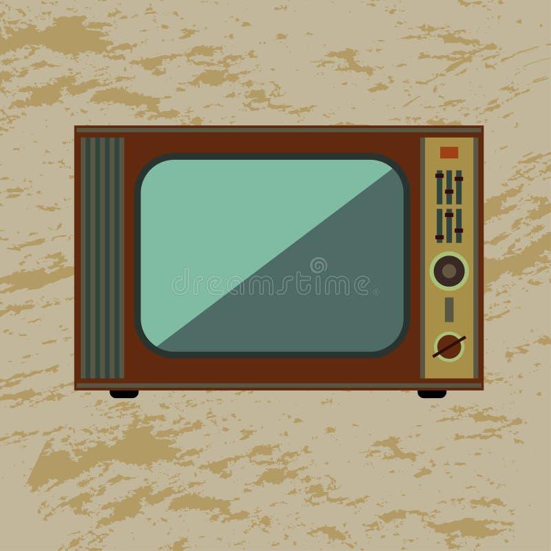 Retro TV. On grunge background stock illustration