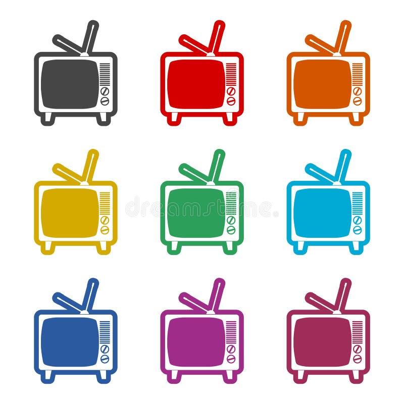 Retro TV icon, color icons set. Simple vector icon stock illustration