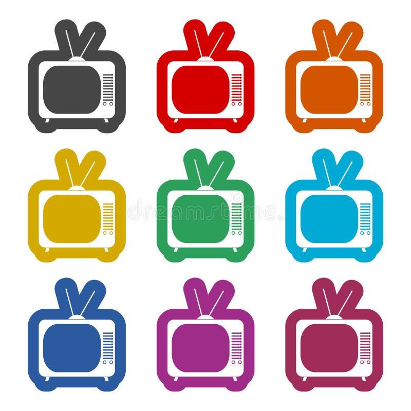 Retro TV icon, color icons set. Simple vector icon vector illustration