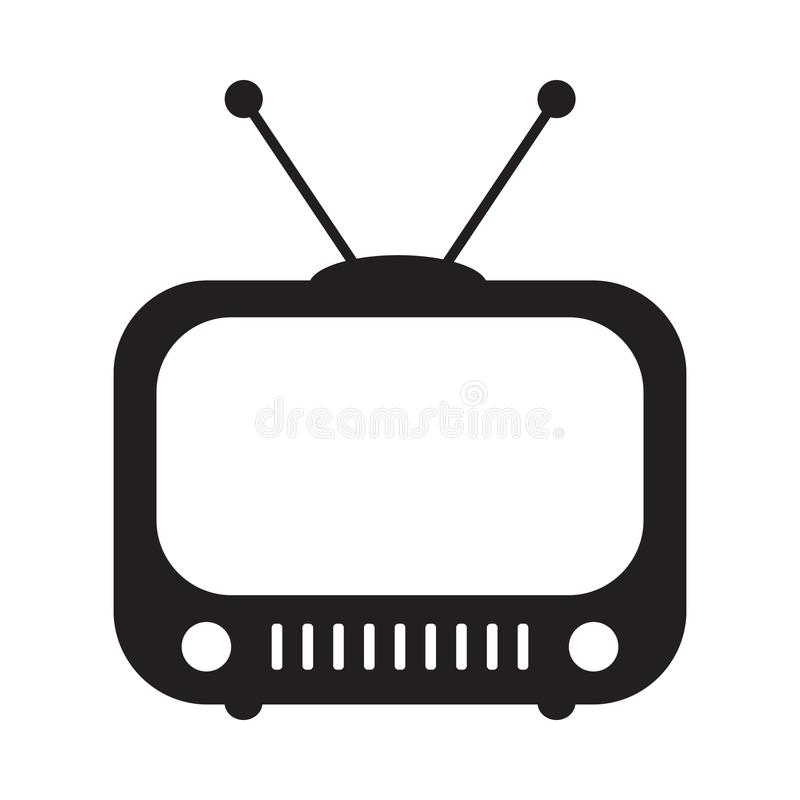 Retro TV icon in flat style, black and white retro TV icon, Vector illustration of Retro TV icon for you design. royalty free illustration
