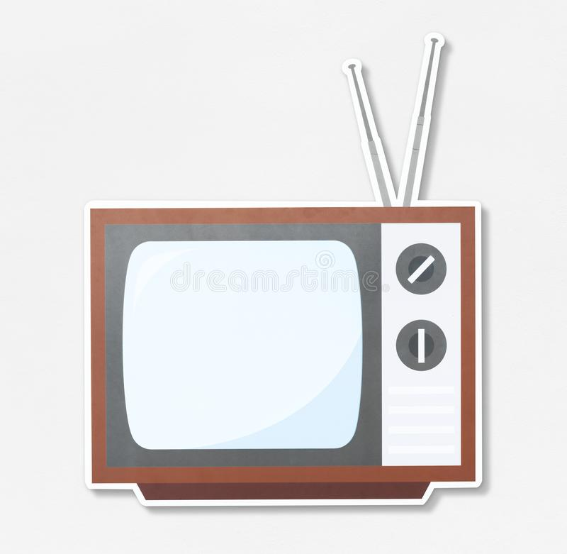 Retro TV icon on white background stock photo
