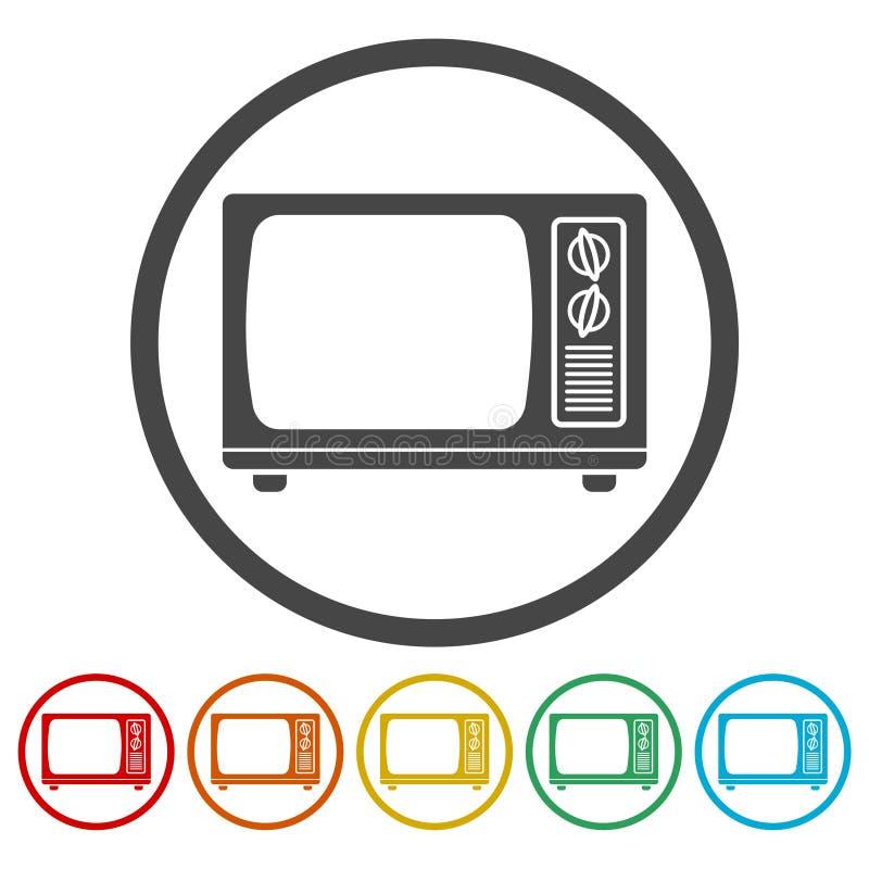 Retro tv icons set. Vector icon royalty free illustration