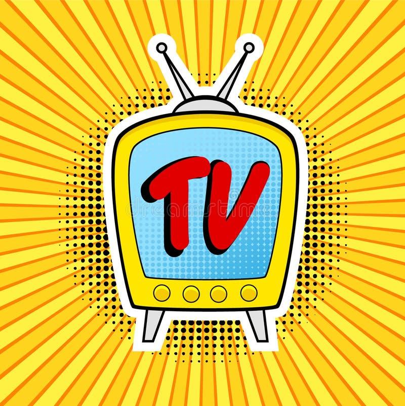Retro TV-illustratie in pop-art grappige stijl op strook en puntbedelaars vector illustratie