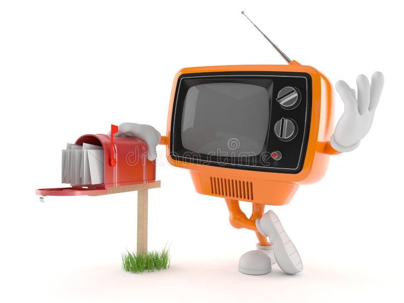 Retro TV-karakter met brievenbus royalty-vrije illustratie