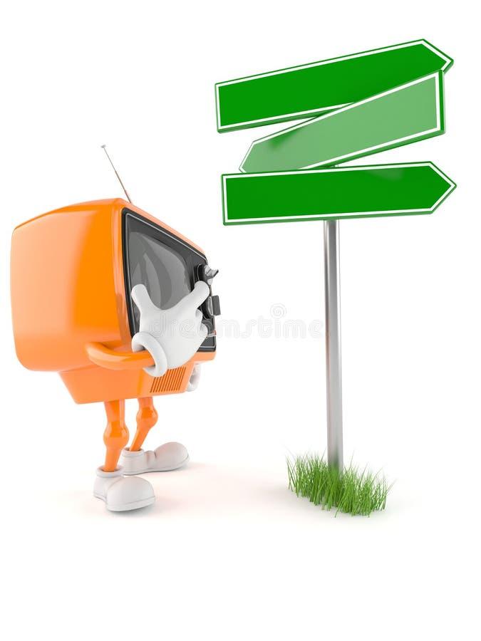 Retro TV-karakter met verkeersteken vector illustratie