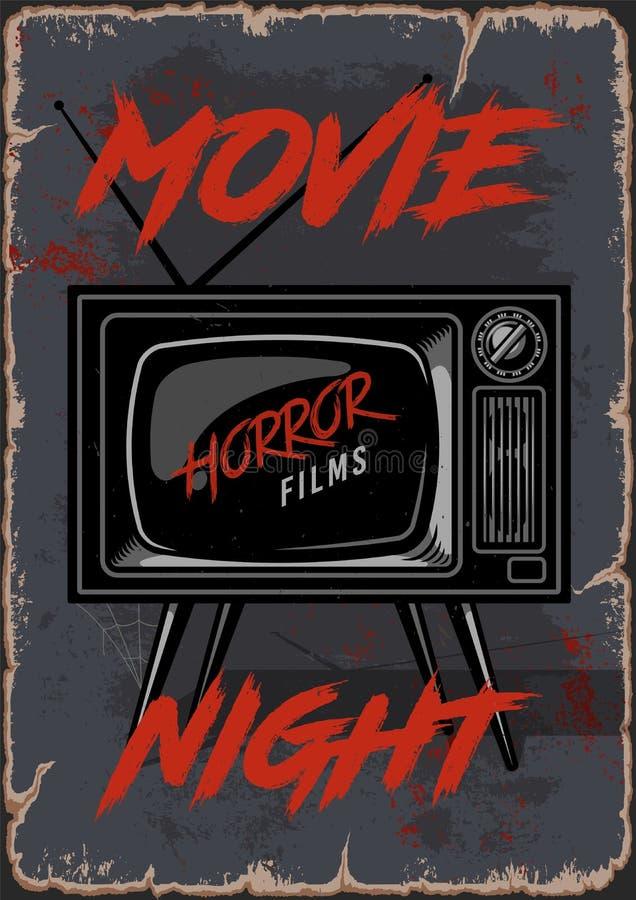 Retro TV kina plakat ilustracji