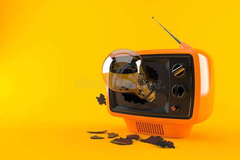 Retro TV with Light bulb. Isolated on orange background. 3d illustration stock illustration