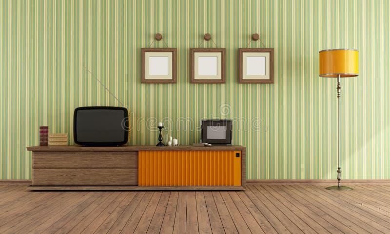 Retro TV in a living room stock illustration. Illustration of ...
