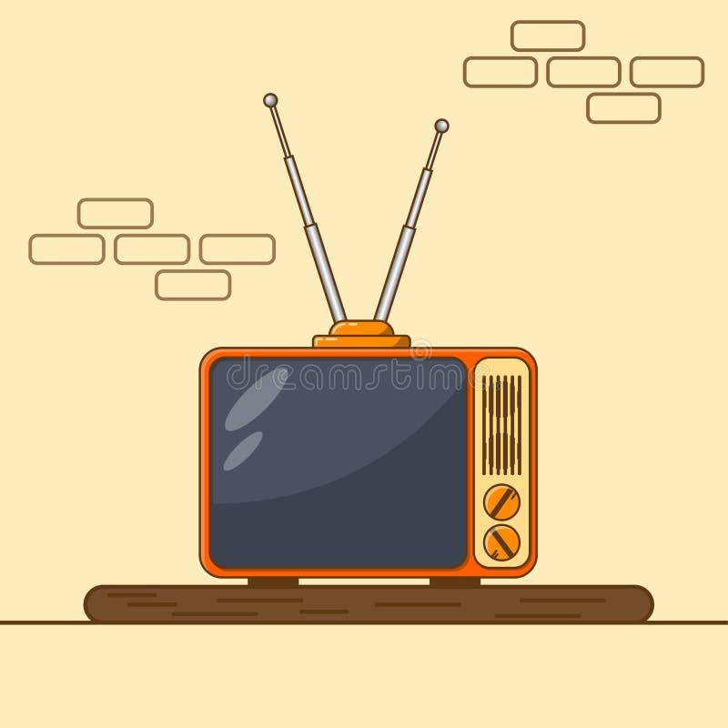 Retro tv med antennen på tabellen stock illustrationer
