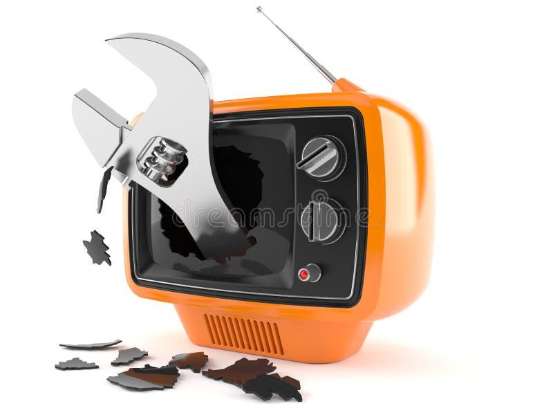 Retro TV med den justerbara skiftnyckeln stock illustrationer
