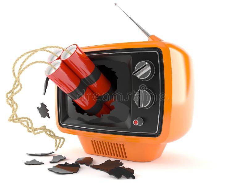 Retro TV med dynamit stock illustrationer