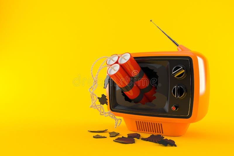 Retro TV med dynamit vektor illustrationer