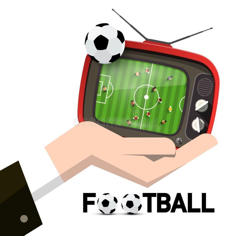 Retro TV med fotbollbollen och bästa sikt för stadion i den isolerade mänskliga handen royaltyfri illustrationer
