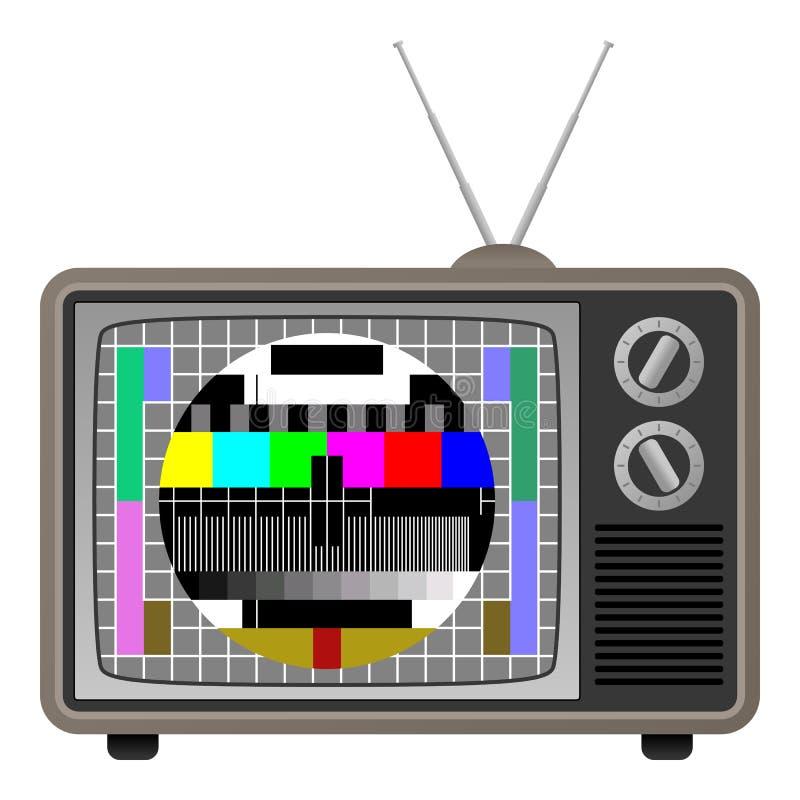 Retro TV med provskärmen royaltyfri illustrationer