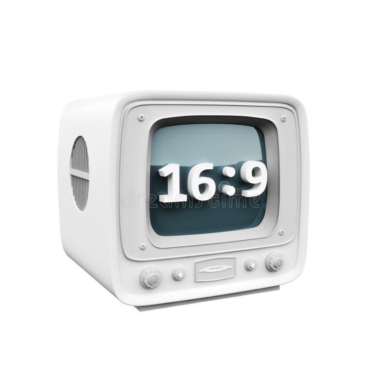 Retro TV met een symbool van het het rantsoenpictogram van het 16:9hd aspect op een witte achtergrond vector illustratie