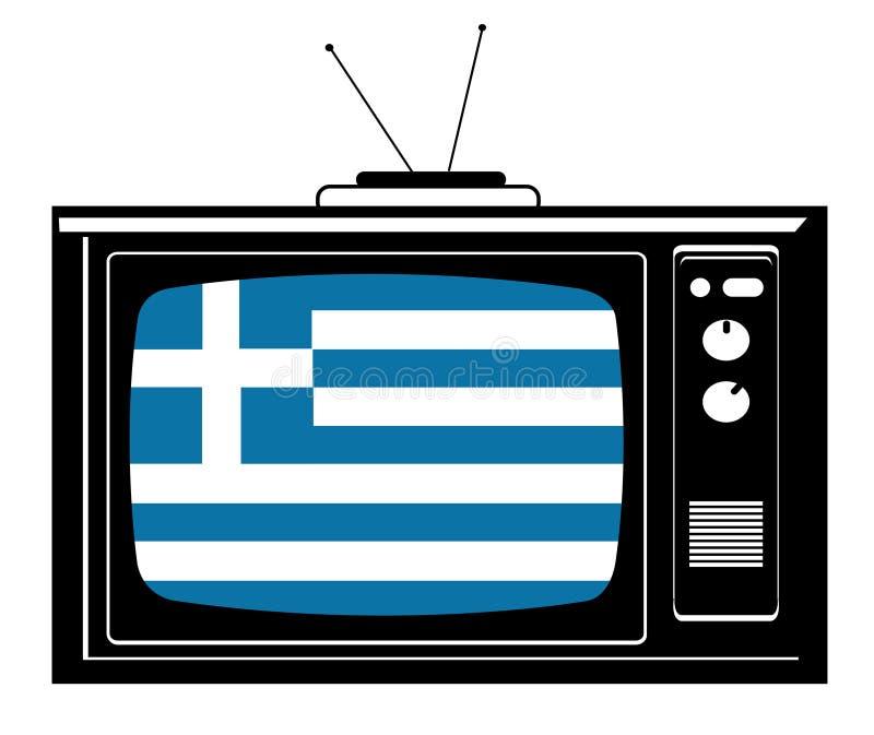 Retro TV met vlag van Griekenland vector illustratie