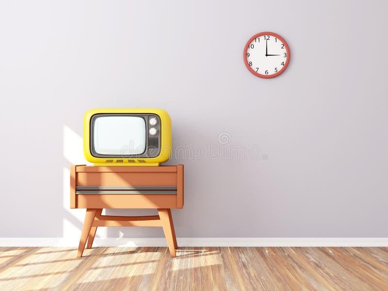 Retro TV-muurklok royalty-vrije illustratie