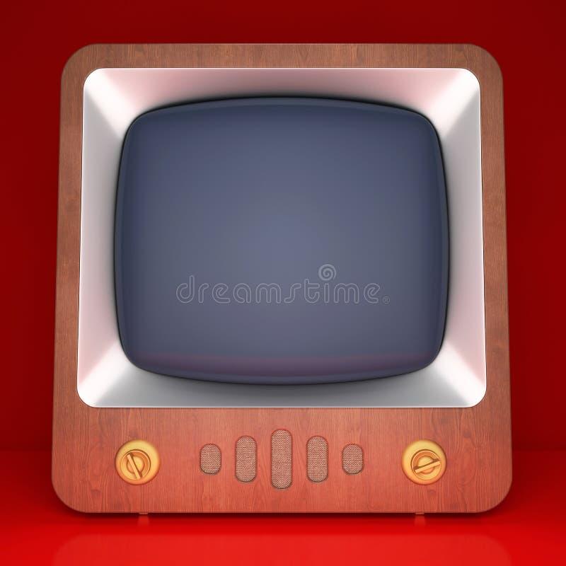 Retro TV op rode achtergrond royalty-vrije stock fotografie