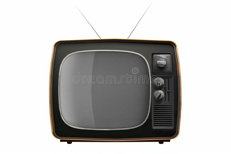 Retro TV op witte achtergrond wordt ge?soleerd die 3D Illustratie stock illustratie