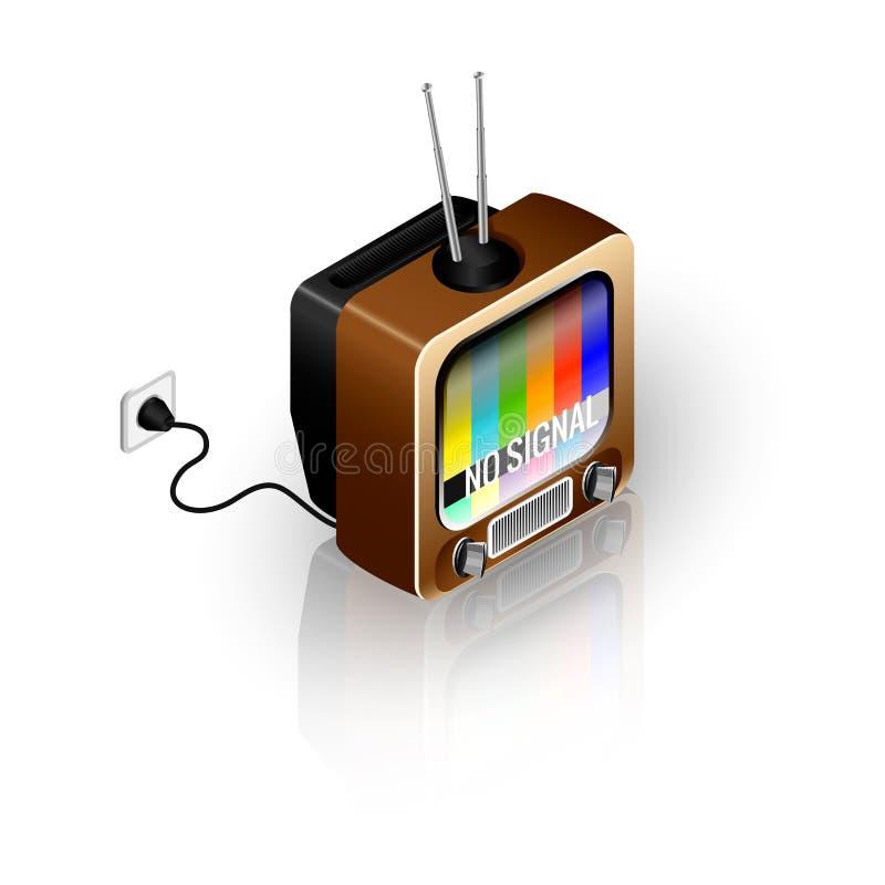 Retro TV-pictogram inbegrepen in de contactdoos met stock illustratie