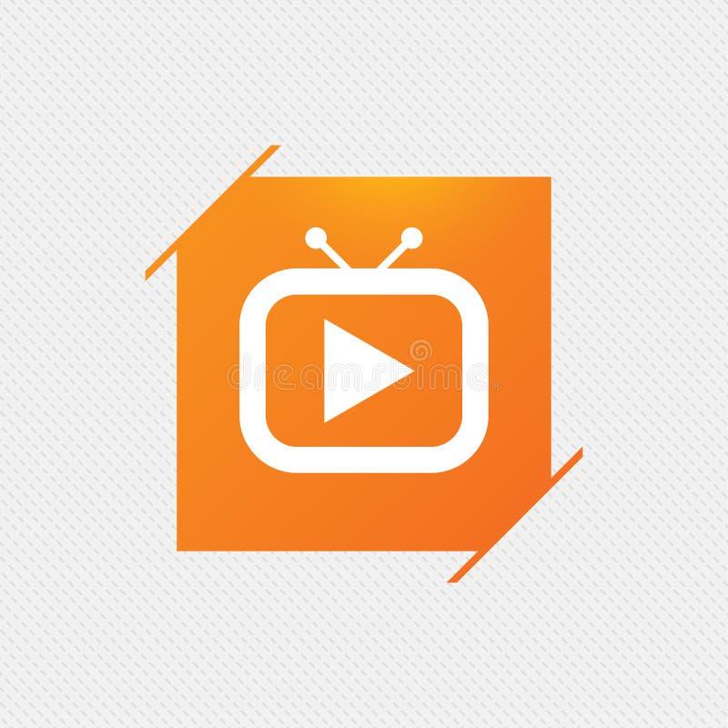Retro TV-pictogram van het wijzeteken Ronde metaalknopen stock illustratie