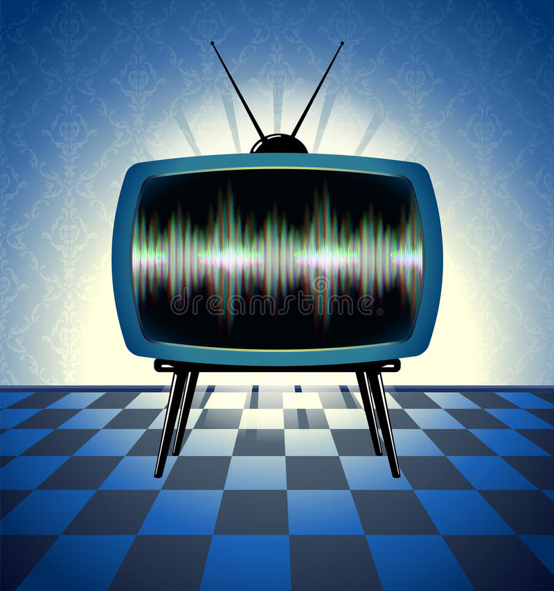 Retro tv receiver in the dark room royalty free illustration