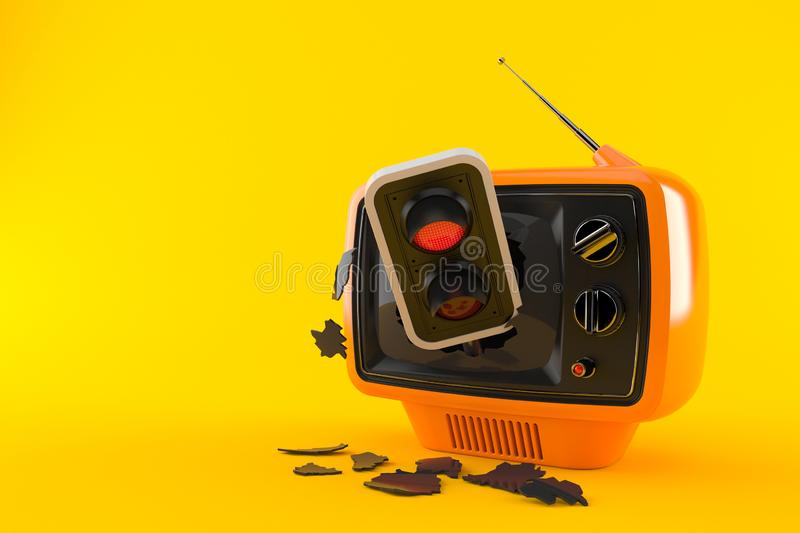 Retro TV with red traffic light. Isolated on orange background. 3d illustration stock illustration