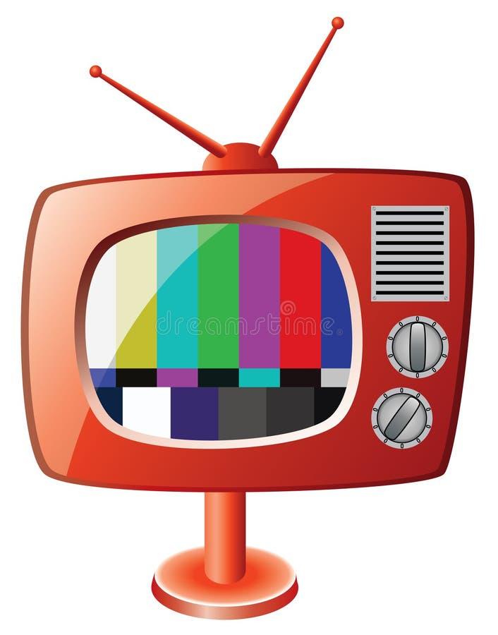 Retro tv set. Illustration of red retro tv set stock illustration