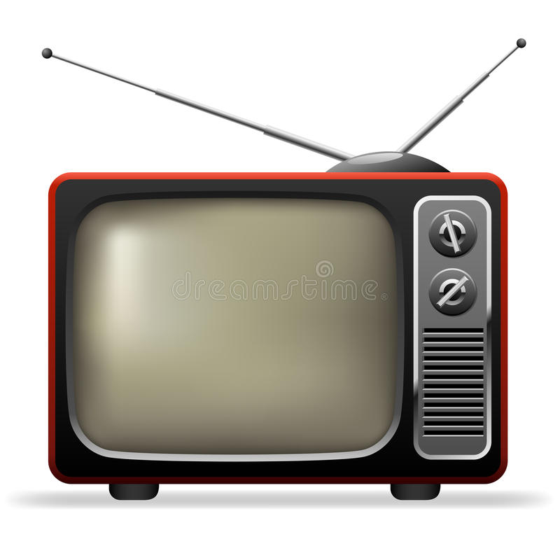 Retro TV set. Isolated on white realistic illustration royalty free illustration