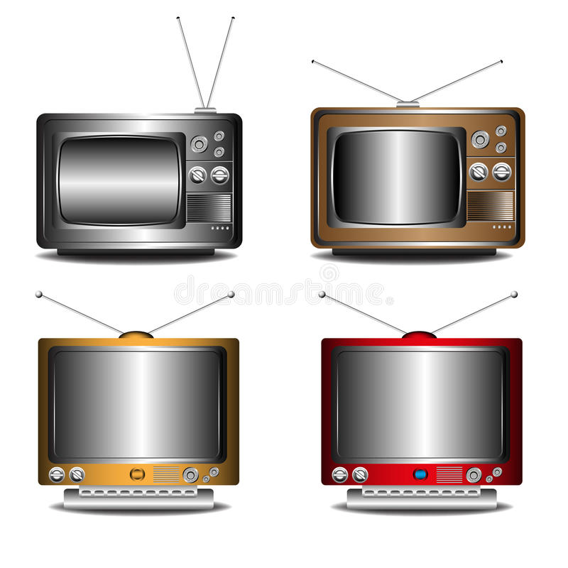 Download Retro TV set stock vector. Image of image, multimedia - 25014136