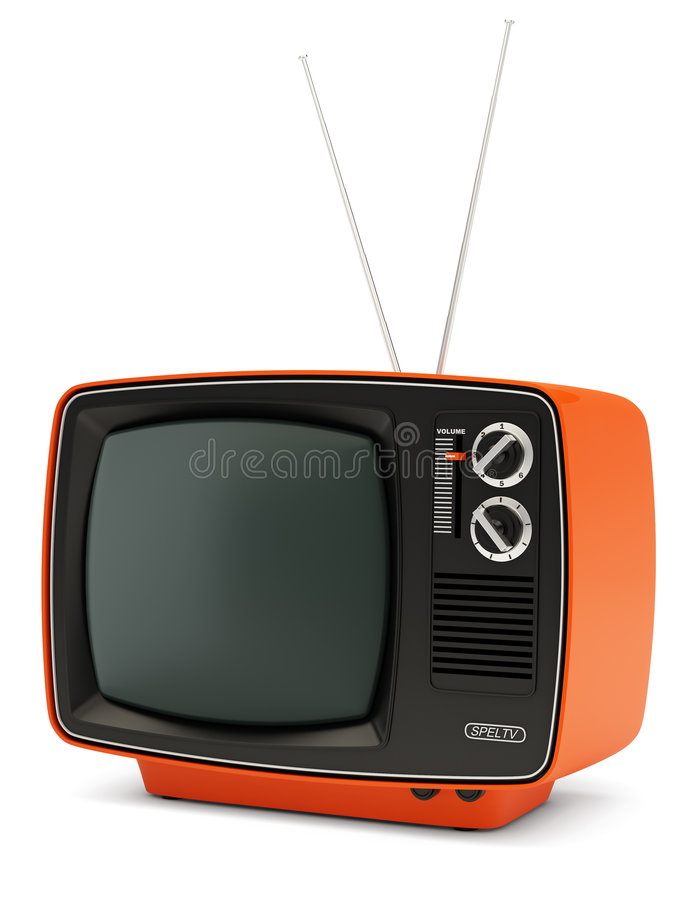 Retro TV set. TV set in retro style on white background royalty free illustration