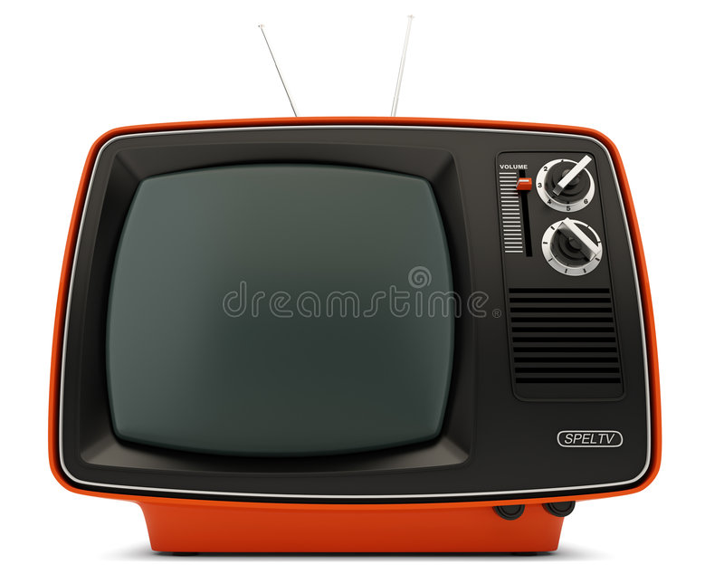 Retro TV set. TV set in retro style on white background stock illustration