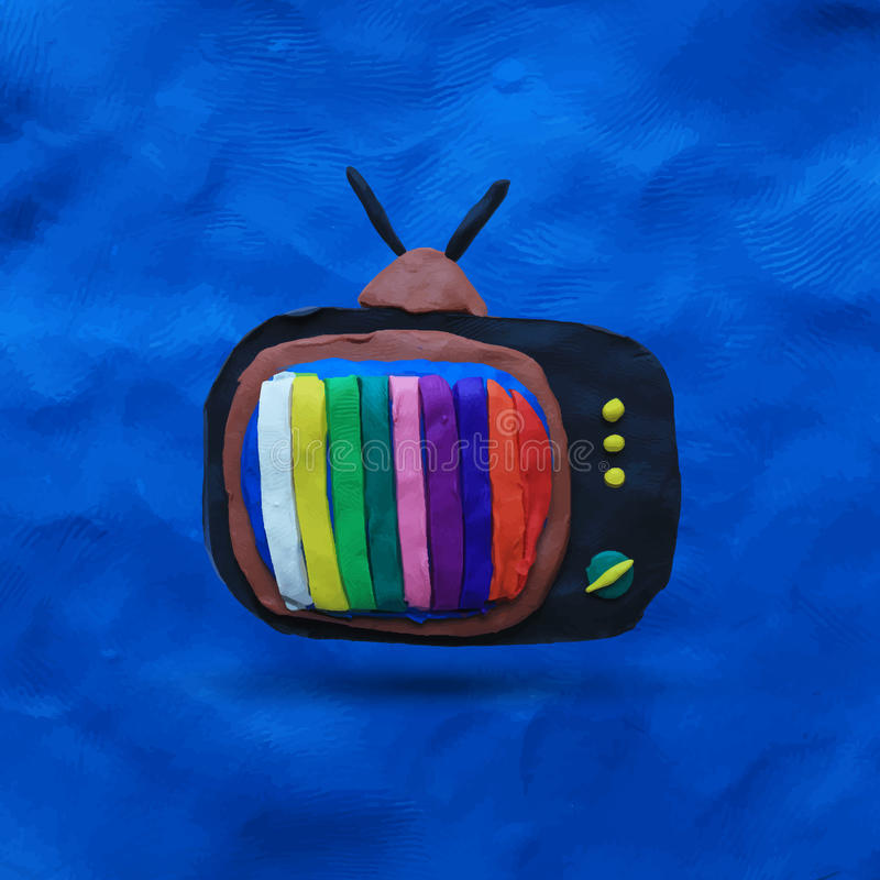 Retro tv set. With color lines on the blue plasticine background. Vector illustration. Plasticine modeling stock illustration