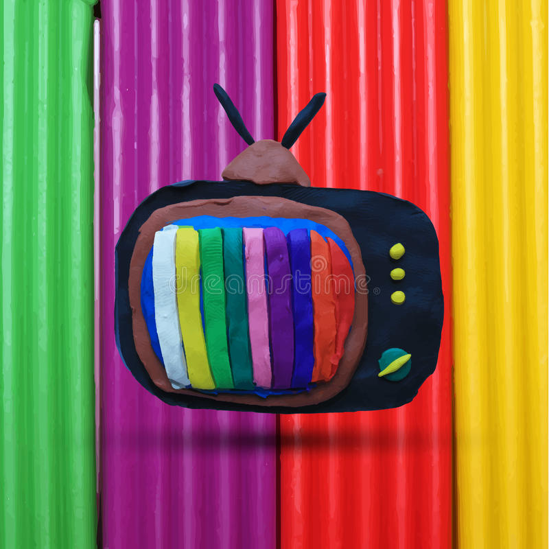Retro tv set. With color lines on the multicolored plasticine background. Vector illustration. Plasticine modeling royalty free illustration
